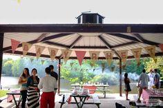 outdoor picnic baby shower for Rhett personalized banner over gazebo Picnic Baby Showers, Baby Shower Parties, Baby Shower Themes, Baby Boy Shower, Shower Ideas, Outdoor Pavilion, Outdoor Gazebos, Baby Shower Centerpieces, Baby Shower Decorations