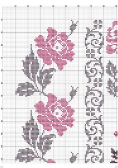 This Pin was discovered by Δαφ Cross Stitch Rose, Cross Stitch Borders, Cross Stitch Flowers, Cross Stitch Designs, Cross Stitching, Cross Stitch Embroidery, Hand Embroidery, Cross Stitch Patterns, Embroidery Designs