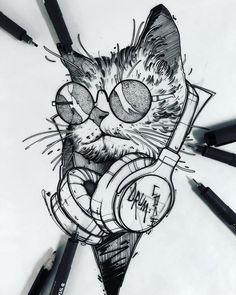 Cat tattoo - Famous Last Words Pencil Art Drawings, Animal Drawings, Drawing Sketches, Tattoo Drawings, Tattoo Minimaliste, Art Du Croquis, Kunst Tattoos, Desenho Tattoo, Nature Tattoos