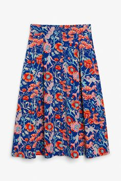 Pleated midi skirt - Flowers and animals - Skirts - Monki GB Pink Midi Skirt, Flower Skirt, Floral Print Skirt, Red Skirts, Printed Skirts, Monki, Fashion Advice, How To Wear, Clothes