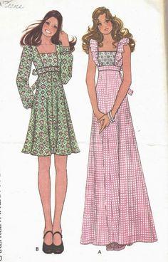dress Vintage McCalls Misses Empire Waist Dress, Size Bust 32 Vintage Dress Patterns, Vintage Dresses, Vintage Outfits, 70s Fashion, Vintage Fashion, Dress Fashion, Fashion Ideas, Patron Vintage, Mode Vintage