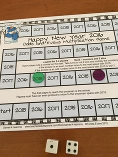 FREEBIE - New Years 2016 Math Games is a set of 4 math board games by Games 4 Learning to celebrate the start of the 2016 New Year!