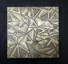 Brass sheet geometric pattern etched and oxidized brass. Etched sheet for jewelry.
