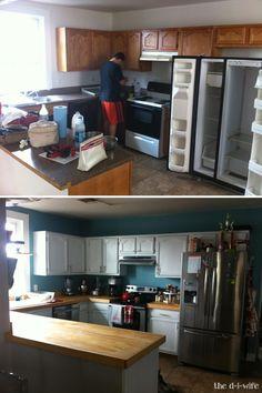 Kitchen Makeover Part Two: DIY Wooden Countertops - *New Home! Wooden Kitchen, Kitchen Tiles, Kitchen Decor, Kitchen Cabinets, Kitchen Furniture, Kitchen Counters, White Cabinets, Kitchen Cupboard, Kitchen Sink