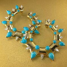 Turquoise earrings by Nikos Koulis, photo by @kremkow