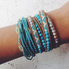 Chan Luu - Turquoise Beaded Wrap Bracelet on Henna Leather, $210.00 (http://www.chanluu.com/wrap-bracelets/turquoise-beaded-wrap-bracelet-on-henna-leather/)