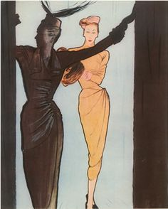 Illustration by René Gruau, 1946,  Balenciaga, Jacques Fath evening gown.