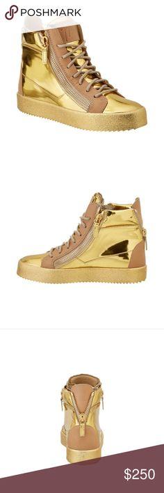 84b6b4a8b7d31 Giuseppe Zanotti Metallic Leather High Top Sneaker Giuseppe Zanotti  Metallic Leather High Top Sneaker 100%