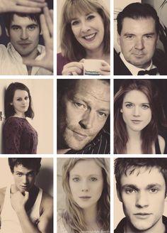 top row: Thomas, Mrs. Hughes, Mr. Bates  middle row: Daisy, Sir Richard Carlisle, Gwen  bottom row: Jimmy, Lavinia & William