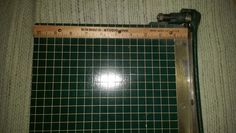 "Vtg-milton bradley paper cutter,9 x 9"",good cond,works,Decor,green,metal,wood"