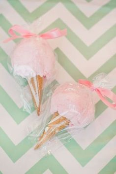 Pink Cotton Candy Cone Party Favors via Pretty My Party