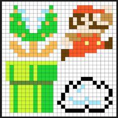 Super Mario items perler bead pattern by Kyle McCoy Pixel Art Templates, Perler Bead Templates, Pearler Bead Patterns, Perler Patterns, Fuse Beads, Perler Beads, Super Mario Bros, Mario Crochet, Hama Beads Disney