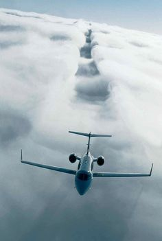Bombardier Learjet 40XR Passing Through Clouds