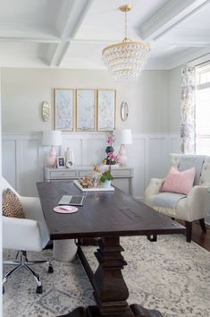 Chic and girly home office with farmhouse trestle table, DIY Gold chandelier, tufted arm chair. Home office vibes Dining Room Office, Home Office Space, Home Office Design, Home Office Furniture, Home Office Decor, House Design, Home Decor, Office Ideas, Furniture Ideas