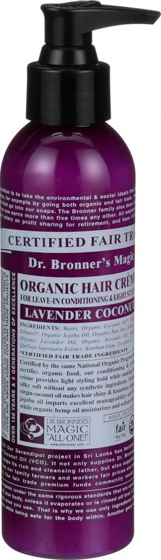Dr. Bronner's Fair Trade and Organic Hair Creme - Lavender Coconut - 6 oz