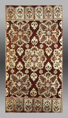 16/17th century silk velvet yastik • tulips and carnations - Ottoman style -Turkey