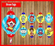 Yo-Kai Watch straw tags instant download por myboutiquepartyfl