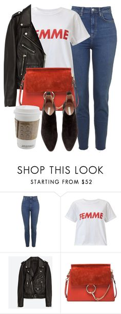 """""""Untitled #6684"""" by laurenmboot ❤ liked on Polyvore featuring Topshop, Miss Selfridge, Jakke, Chloé and H&M"""