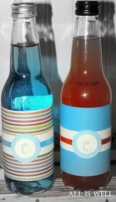 orange and blue drinks wrapped