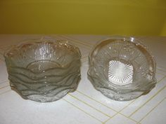 Iris and herringbone Ruffled Edge Sauce Bowls - Ruby Lane, Herringbone, Iris, Bowls, Antiques, Glass, Serving Bowls, Antiquities, Antique