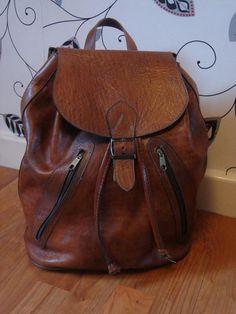 ViNtaGe Leather Rucksack Backpack Chesnut Brown by FoxVintageUk