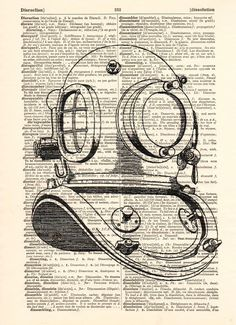 Original prints – Old diving helmet on a antique book page – a unique product by Dictionary-vintage-book-page on DaWanda