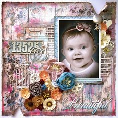 """Lucky Flutterby Creations: So Beautiful Layout with """"Rustic Beauty Kit"""" and Creative Embellishments Goodies!"""