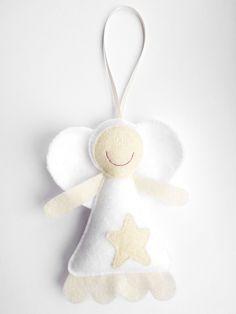 Felt Fairy Christmas Tree Decoration - Star the Wish Fairy - Cream & White Angel Ornament / Holiday Gift for Children / Gift Idea for Her. £6.00, via Etsy.