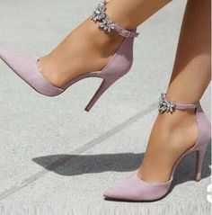 67b5ab9cbe Sexy Pink Suede Pointed Toe Pump Women Shoes Crystal Ankle Strap Cut-out Women  Shoes High Heels Plus Size Wedding Shoes Bride