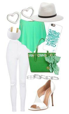 White&Green by nayawilde on Polyvore featuring polyvore, fashion, style, Topshop, Gianvito Rossi, MICHAEL Michael Kors, Kendra Scott, Marc by Marc Jacobs, Gogo Philip, rag & bone and Casetify