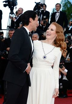 """Adrien Brody greeted Jessica Chastain at the """"Cleopatra"""" premiere on May 21, 2013 at the Cannes Film Festival"""