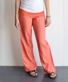 This éloges Coral Fold-Over Linen-Blend Pants by éloges is perfect! #zulilyfinds