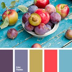 Purple & Red Plums and Blue Picnic Table Palette. Colour Pallette, Color Palate, Colour Schemes, Color Combos, Color Patterns, Design Seeds, Pantone, Color Concept, Design Industrial