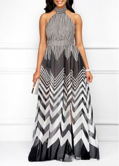 e560aba362c Chevron Print Cutout Back Side Slit Maxi Dress