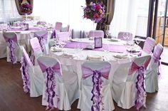 Свадебное мероприятие выполненное в фиолетовом цвете с применением бумажного декора