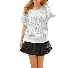 Allegra K Ladies Scoop Neck Short Bat Sleeves Cat Print Shirt XS Allegra K. $10.29