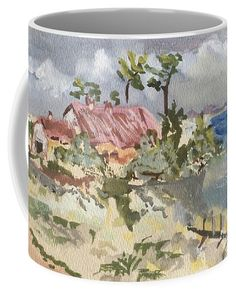 Plage Coffee Mug featuring the painting Phare Du Cap Ferret - Hommage Famille David. by Francoise Chauray