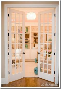 french doors leading into living room, bedroom, office etc. id like for a bedroom with curtains covering it.