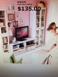 Ikea borgsjo bookcases and tv cabinet, i like how the bookcases ...