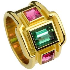 Tourmaline Rubellite Gold Ring | From a unique collection of vintage band rings at https://www.1stdibs.com/jewelry/rings/band-rings/