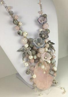 Купить Дымчато - Розовый Этюд. Колье, съёмный цветочный декор - бледно-розовый, серый, серебристый