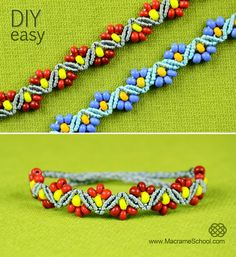 How to Make ZigZag Flower Bracelets with Beads - Easy Tutorial: http://youtu.be/r7QD7IXSf7M