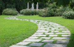 Curved Paver Path, Walkway Through Grass Walkway and Path Landscaping