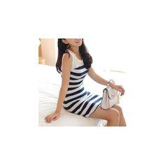 Stripe Sleeveless Dress (£12) ❤ liked on Polyvore featuring dresses, women, white stripe dress, stripe dress, sleeveless cotton dress, white striped dress and no sleeve dress