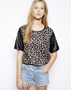 Edit Leopard Print Boyfriend Top With Contrast Sleeves -  $35.21