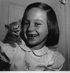 A collection of vintage portraits of girls with their cats.