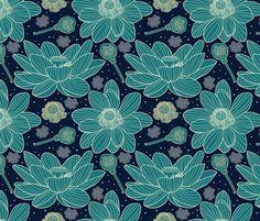 blue lotus fabric by apolinarias on Spoonflower - custom fabric