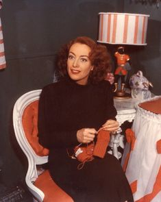 Joan Crawford crocheted, knitted, and hooked rugs.