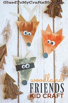 Burlap Woodland Friends Gift Tags Made From Pendant Triangles Burlap Woodland Creatures – Kid Craft – Glued To My Crafts Forest Animal Crafts, Ocean Animal Crafts, Forest Crafts, Animal Crafts For Kids, Fall Crafts For Kids, Toddler Crafts, Forest Animals, Winter Craft, Craft Kids