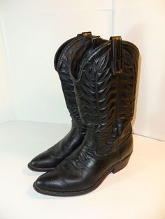 VINTAGE! Men's Western Cowboy Rodeo Boots 9.5 D Black Leather USA MADE-ship FREE #Unbranded #CowboyWestern
